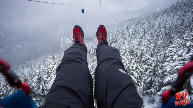 winter zipline in whistler