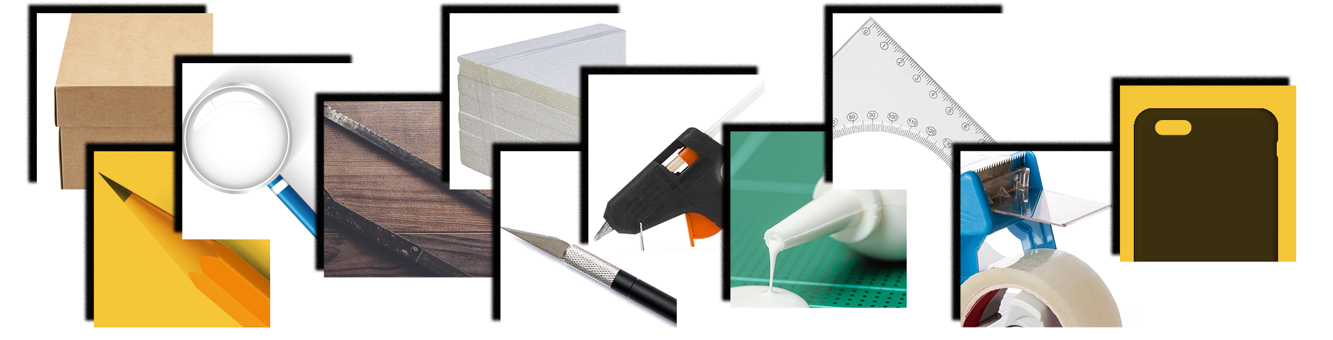 Gather together the following supplies: a shoe box, white glue, a magnifying glass, a hacksaw, a pencil, an X-acto blade, hot glue gun and glue sticks, foam board, an angled ruler, strong double-sided tape, and an inexpensive phone case to fit your phone.