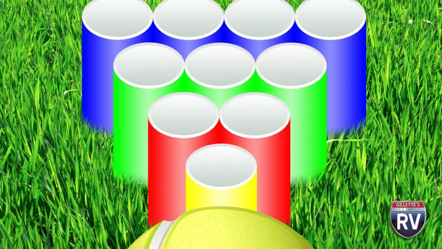 Illustration Of Ball Being Thrown At Tubes In The Grass