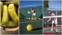Pickles plus ball equals pickleball woman playing