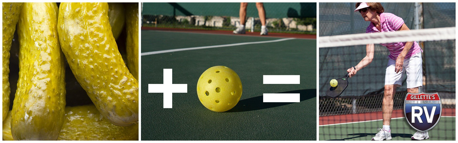 Pickles plus ball equals woman playing a game called pickleball