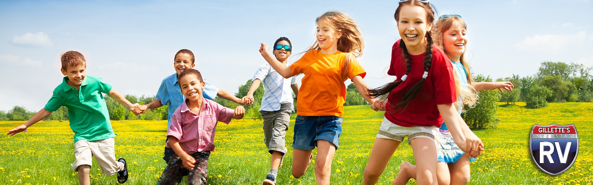 a group of kids running around outside
