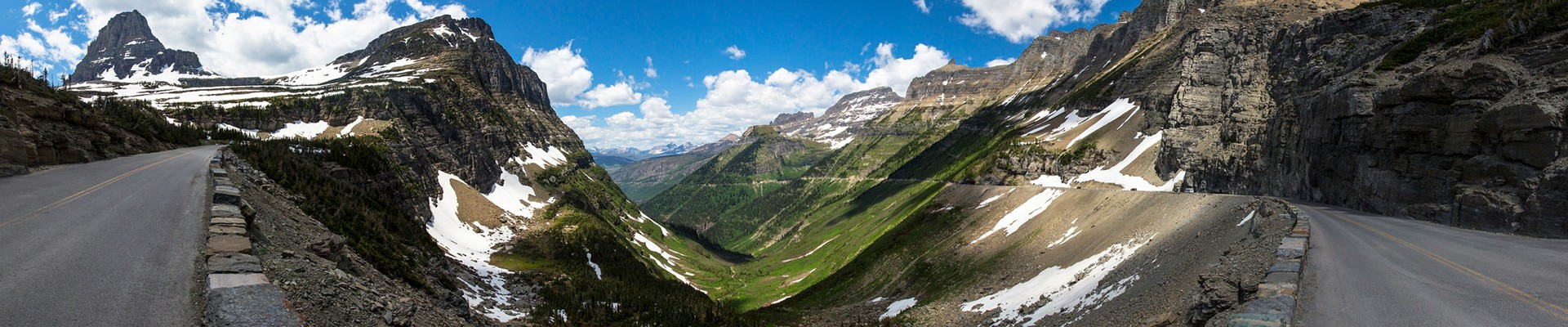 Panoramic view of Going To The Sun Road in Glacier National Park