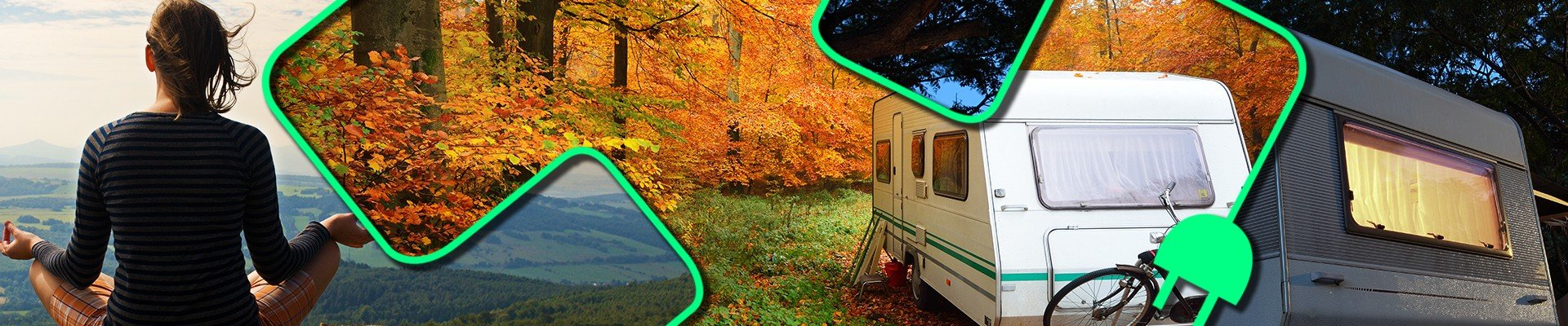 woman meditating - small travel trailer in autumn - travel trailer at night