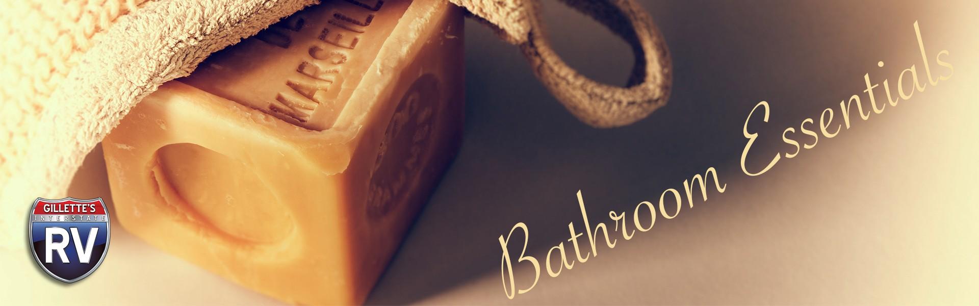 Bathroom essentials - bar of soap and cloth