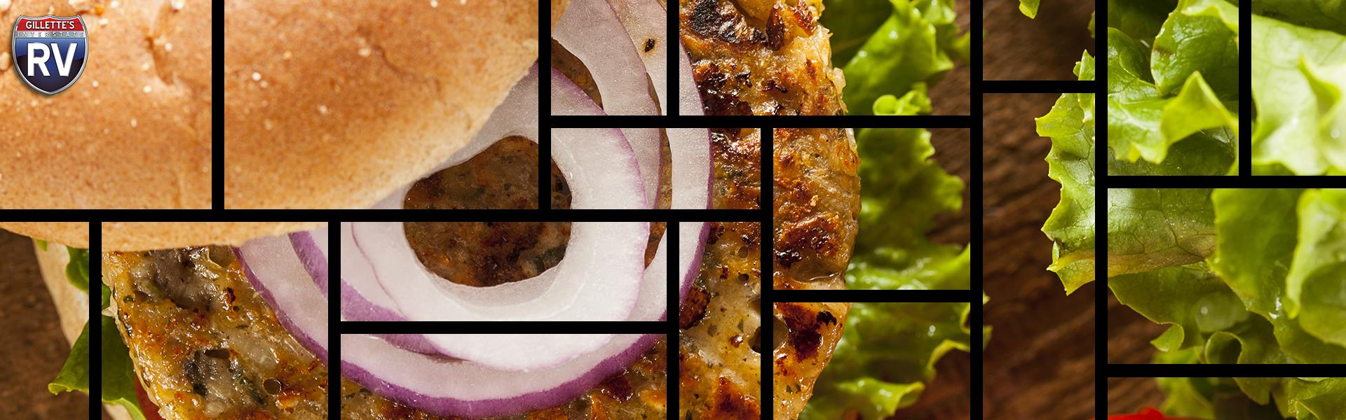 Black bean burger in a grid format.