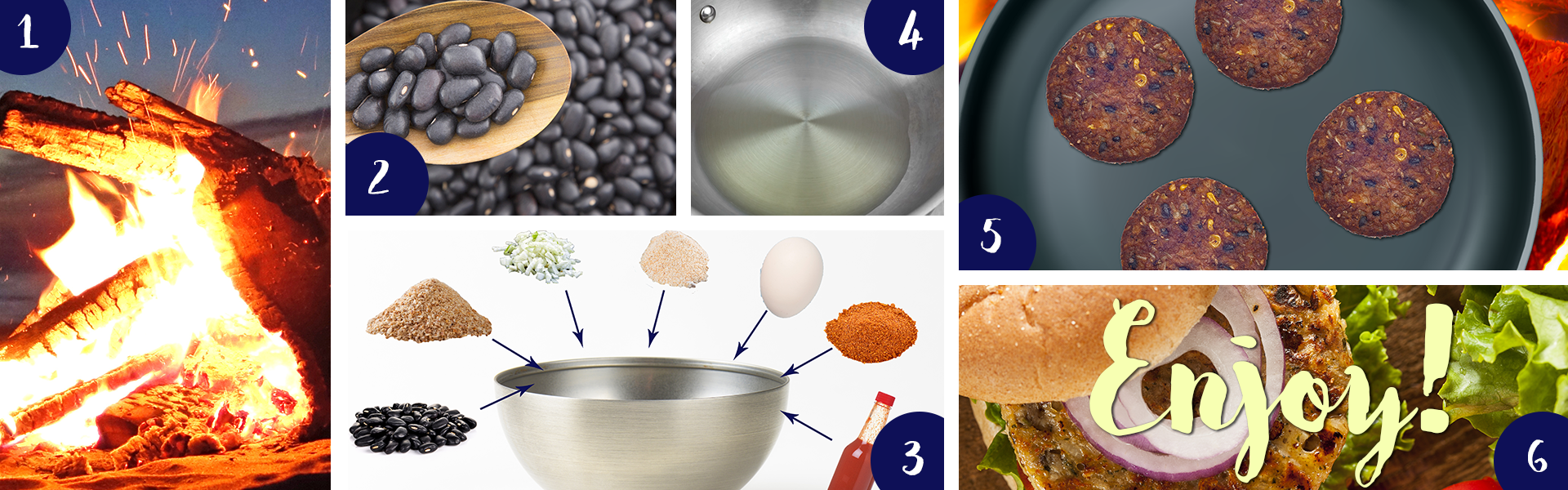 Steps on how to make black bean burgers.