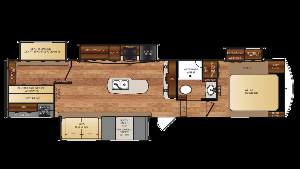 Wildcat 5th Wheel Floor Plans: Forest River Wildcat 36BHX 5th Wheel Floor Plan