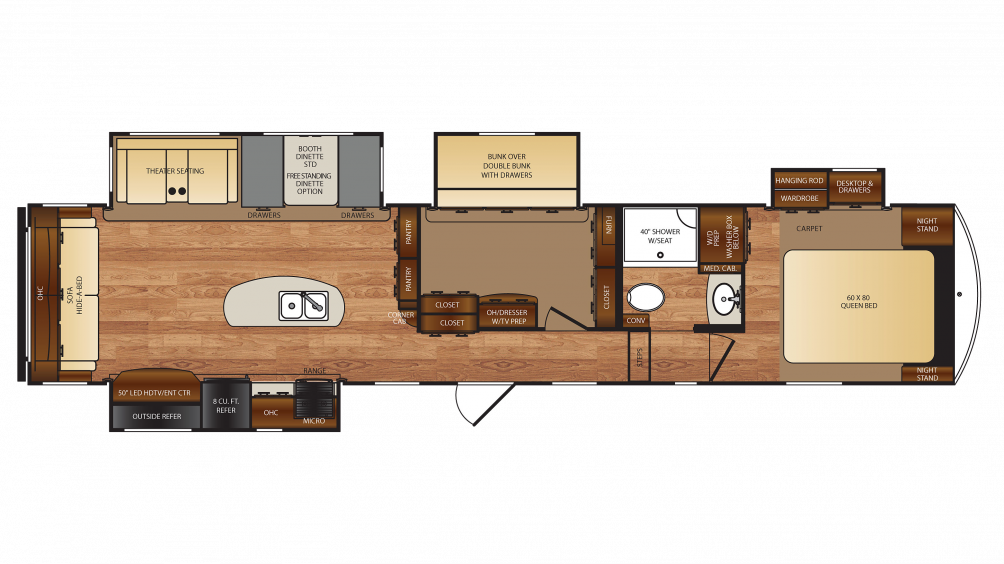Forest River Wildcat 38MBX 5th Wheel Floor Plan