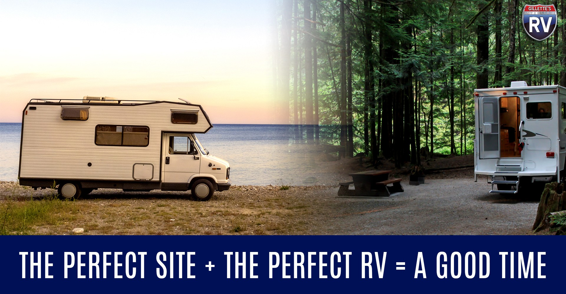 The perfect site plus the perfect RV equals a good time!