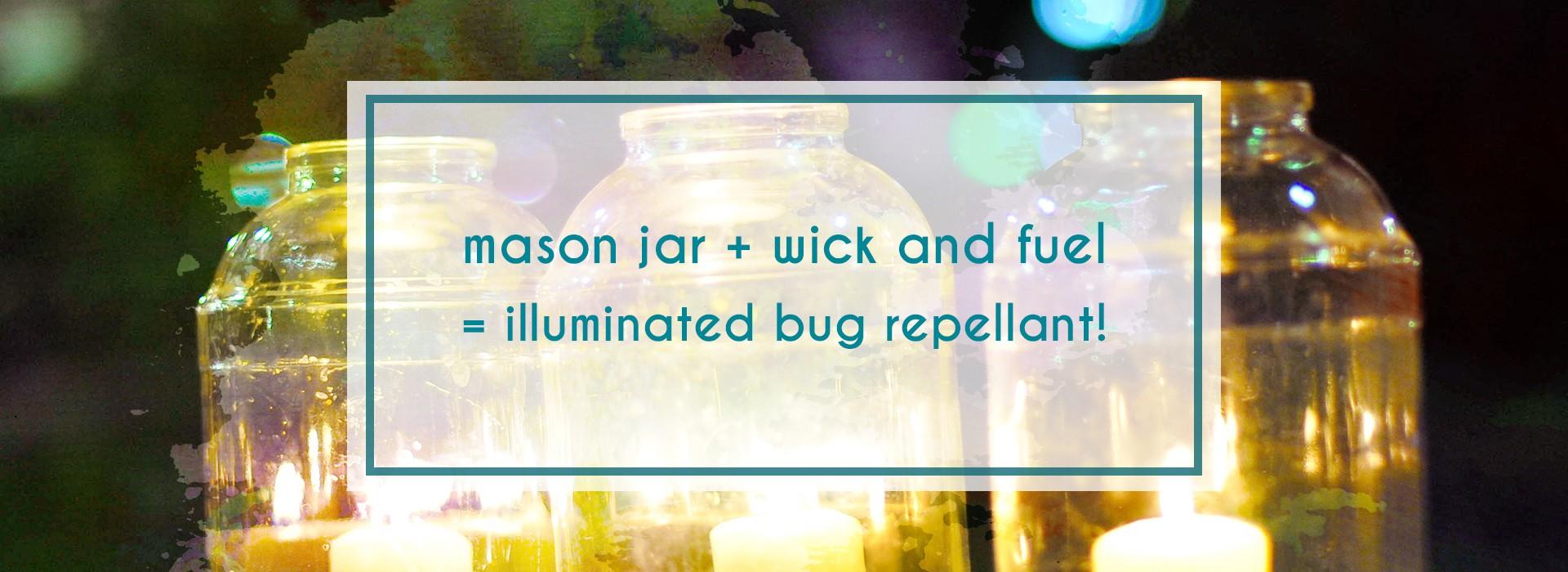 make mini tiki torches by using mason jars