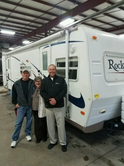 Douglas&sheila Schaberg at Gillettes Interstate RV with their Rockwood 8272S