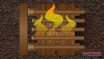 illustration of log cabin fire