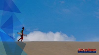 geometric pattern overlaying image of man sandboarding on dunes
