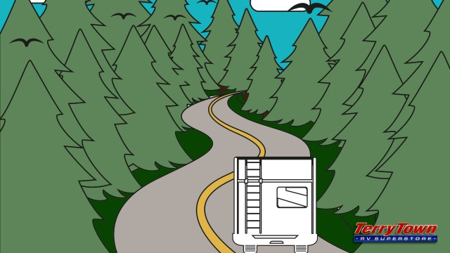 illustration of RV driving down a country road