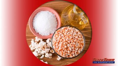 popcorn kernels salt and olive oil