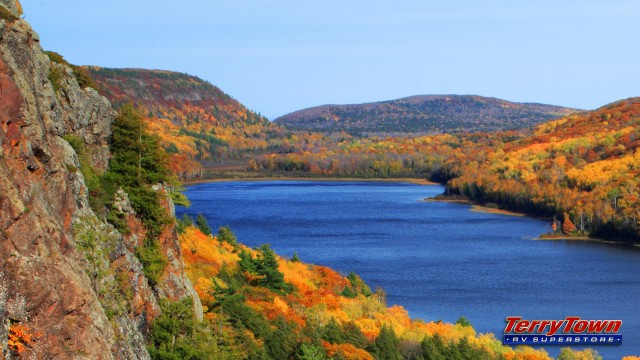 RV Porcupine Mountains view over lake in autumn