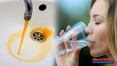 Dirty water vs woman drinking clean water