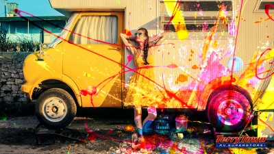 girl in yellow dress and yellow rv with paint splatter