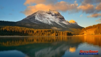 Banff National Park at sunset.