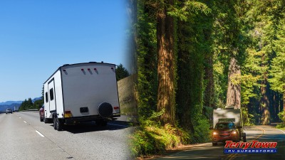 Travel trailers on the road