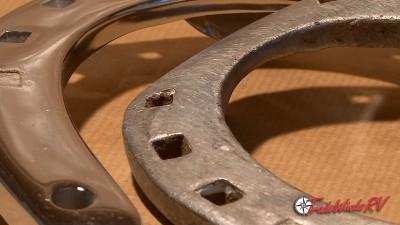 close-up of horseshoes