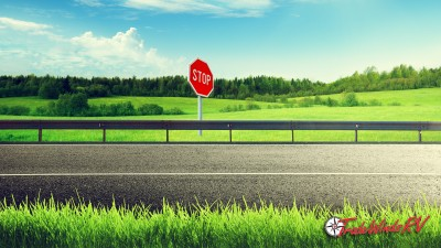 Illustrated Country Road With A Stop Sign