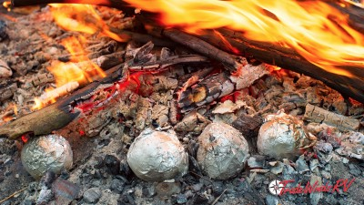 Apples By The Fire Wrapped In Tin Foil