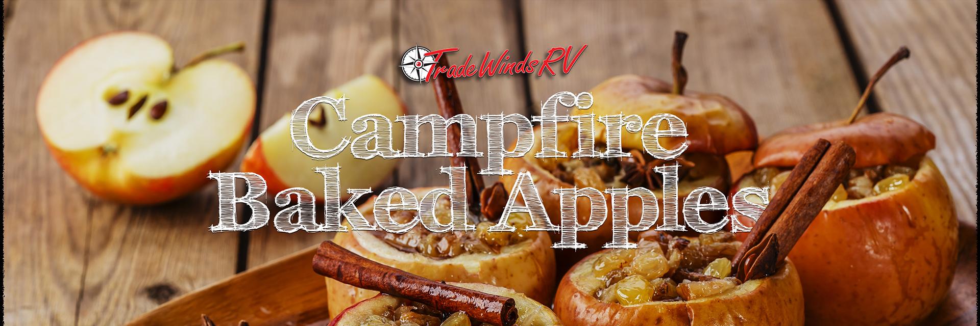 Campfire baked apples banner