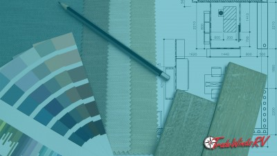 Paint samples, flooring samples and blue prints