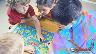 Kids Playing A Board Game