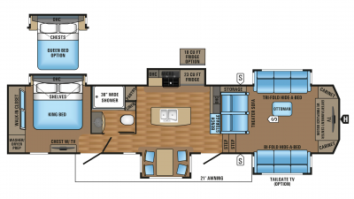 2017 Pinnacle 38FLSA Floorplan cropped