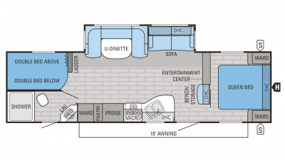 Jayco Jay Flight 2016 28BHBE Floorplan cropped