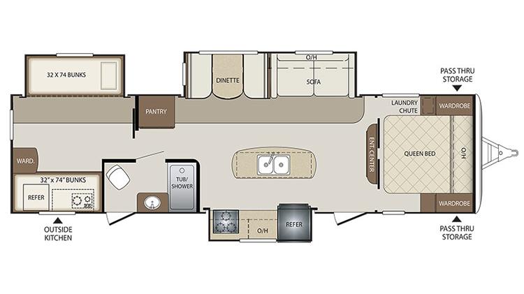 Keystone Bullet Rv Floor Plans: 311BHS Keystone Bullet 2017 Travel Trailer Camper RV