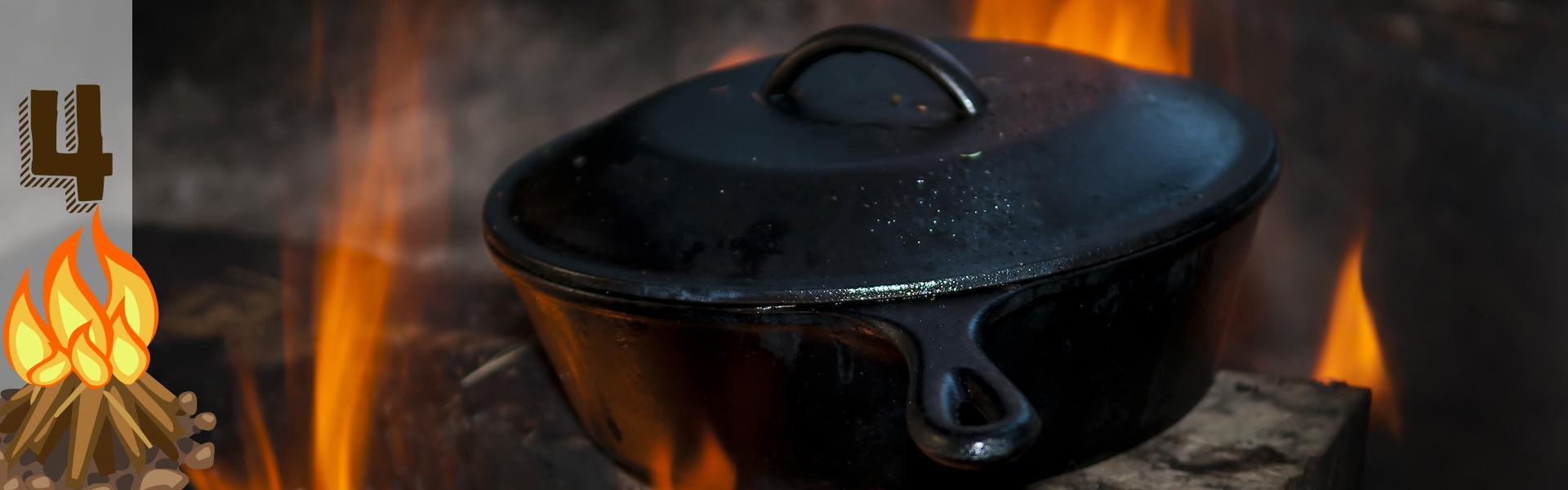 cast iron cooker over the fire