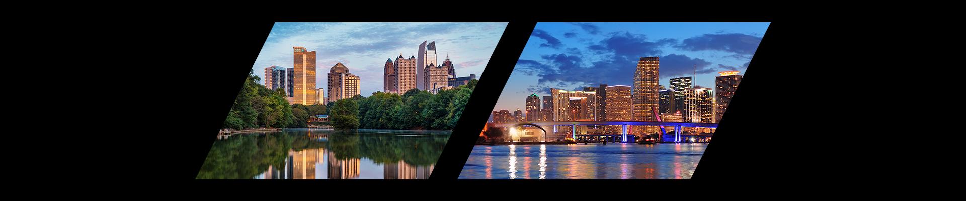 Atlanta, Georgia and Miami, Florida city skylines