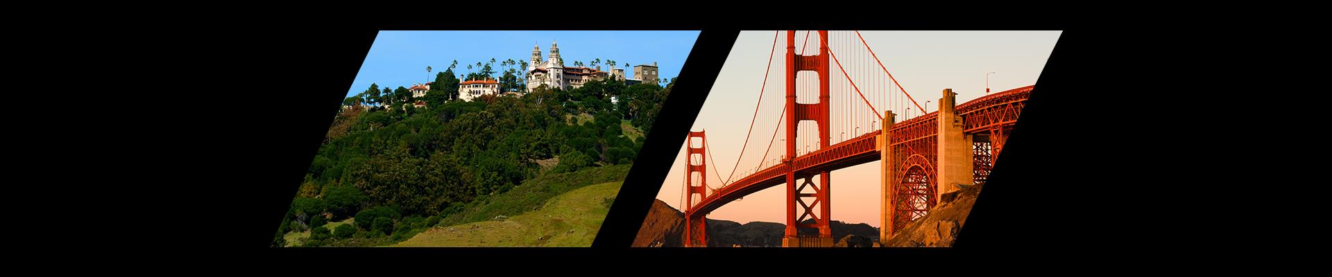 Hearst Castle and the Golden Gate Bridge in California