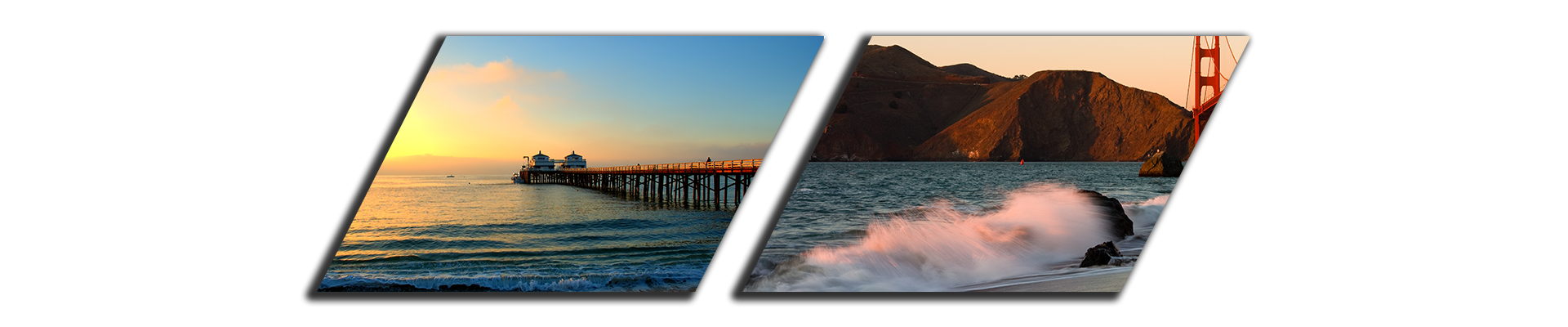 Malibu Beach and San Fransisco in California