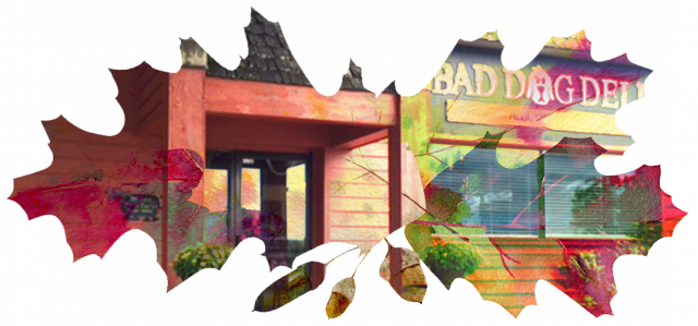 Fall leaves with image of Peninsula Grill and Bad Dog Deli.