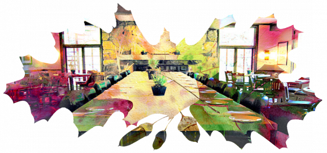 Fall leaves with image of Mission Table restaurant.
