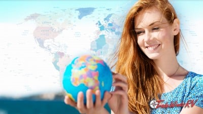 Woman Traveling With Globe