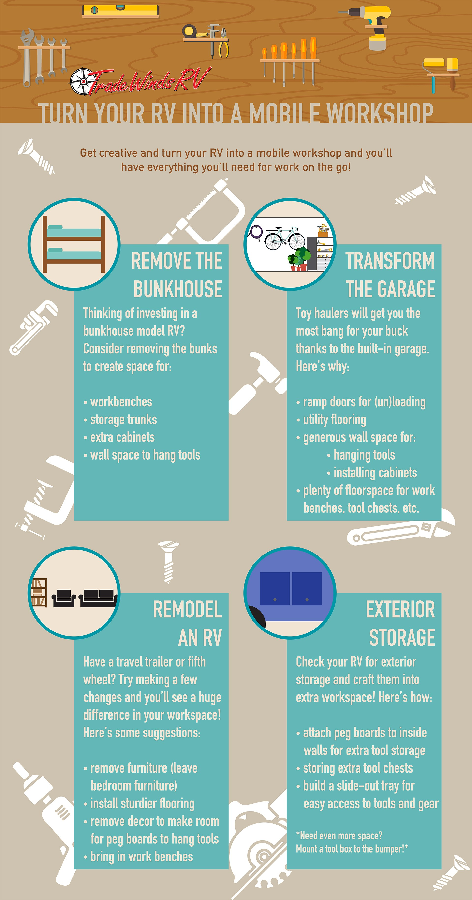 TradeWind RV's guide to transforming your RV into a handyman's workspace