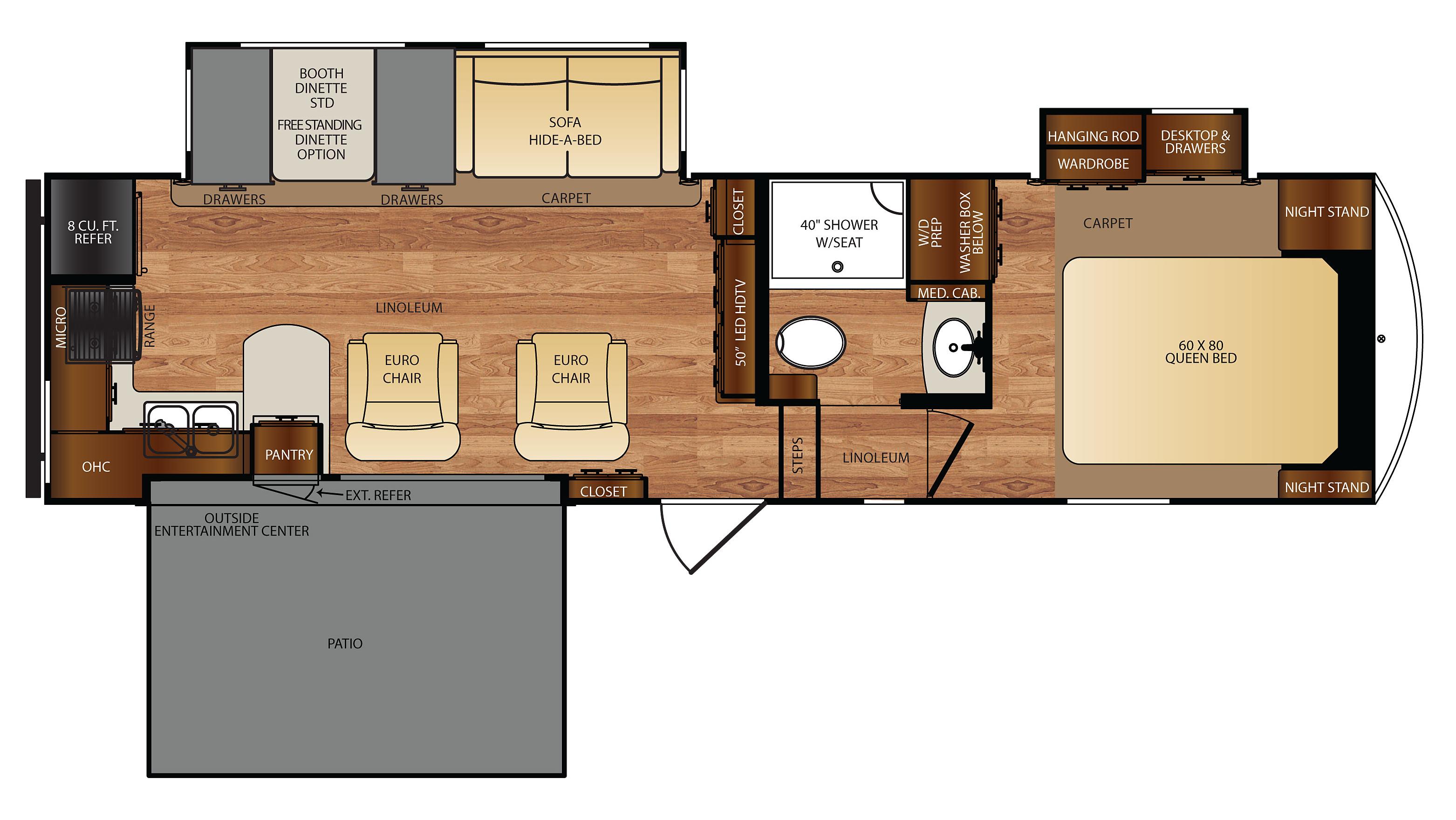 Wildcat 29RKP 5th Wheel Floor Plan