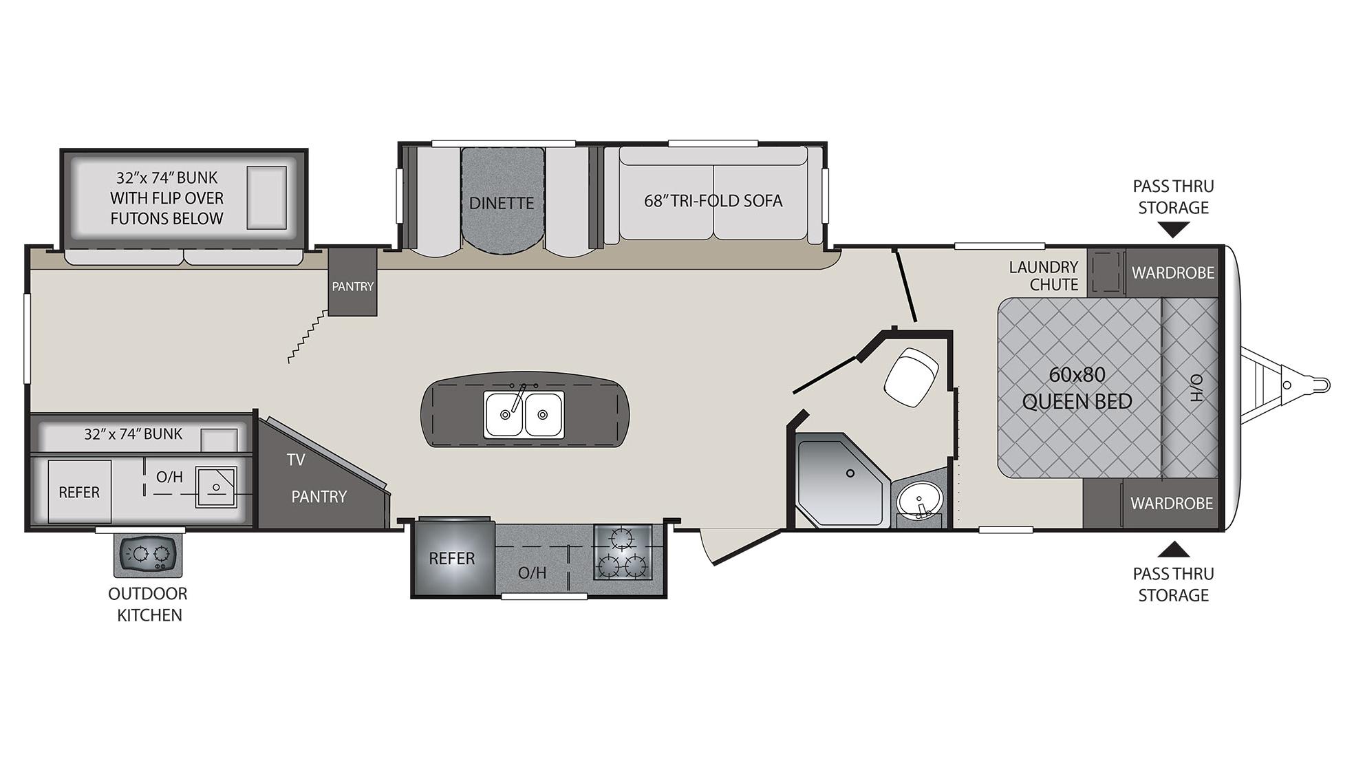 Keystone Bullet Rv Floor Plans: 2018 Keystone Premier 34BHPR Camper
