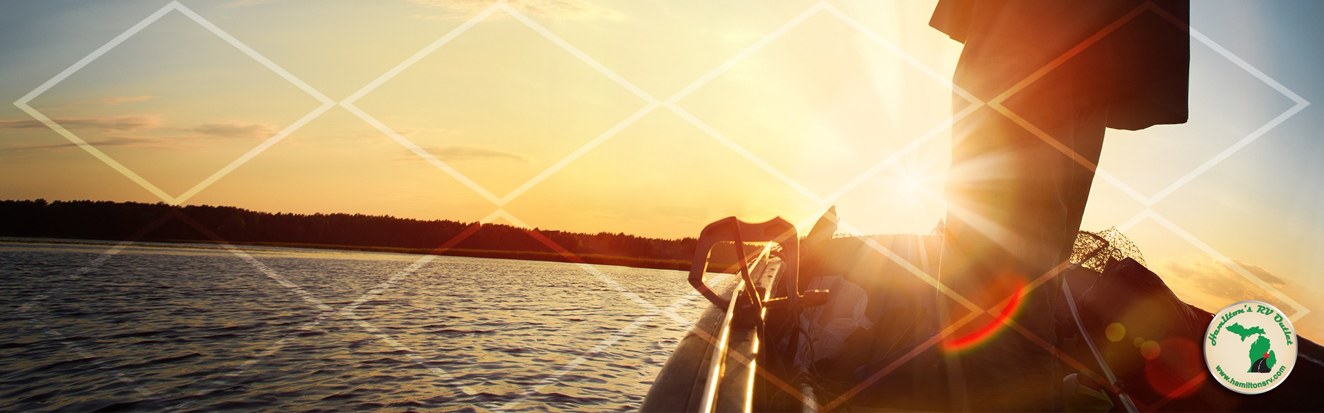 close up of fisherman in a boat on lake at sunset with net pattern overlaying