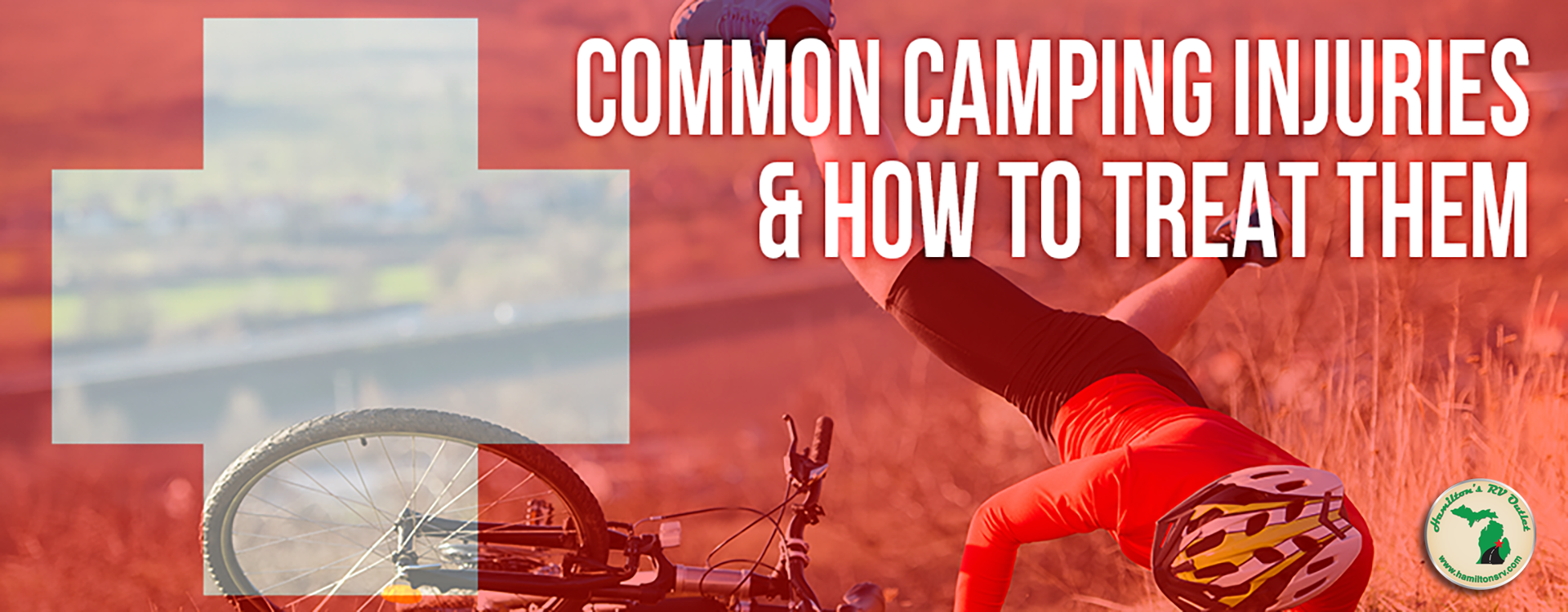 common camping injuries and how to treat them - man falling off bike Banner