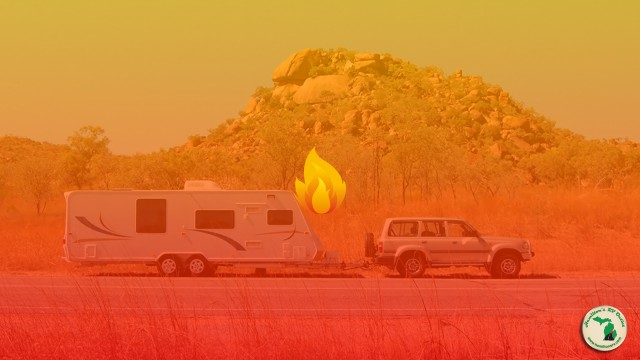 Fire Overlay With Jeep And RV Driving Down The Road