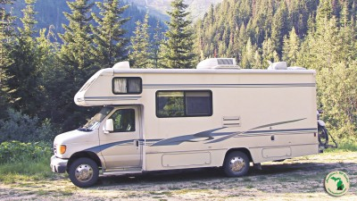 Fun camping activities RV in mountains Feature