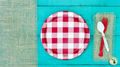 Bright Blue Picnic Table With Table Setting For Picnic