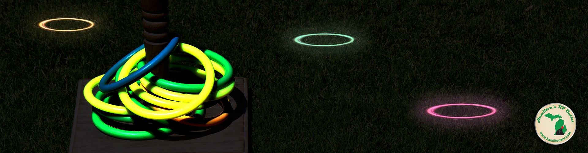 Glow in the dark ring toss kids game